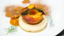 Ginger panna cotta, with vermouth caramel and grilled peach at the Celebrating Decadence with Citi dinner.