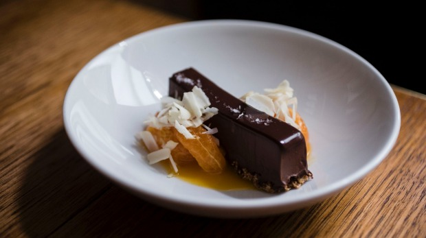 Chocolate delice, mandarin and  macadamia.