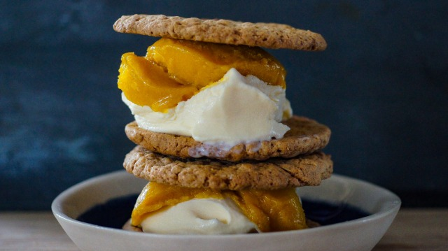 Weis bar-inspired ice-cream sandwiches with mango sorbet and coconut froyo.