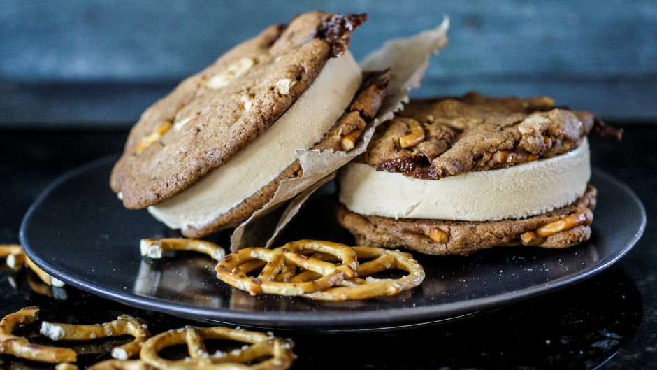 Cupboard cookie and coffee ice-cream sandwiches.