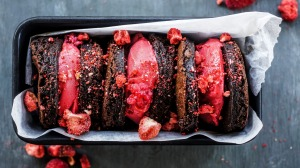 Dark chocolate, olive oil and sea salt brownies sandwiching raspberry sorbet.