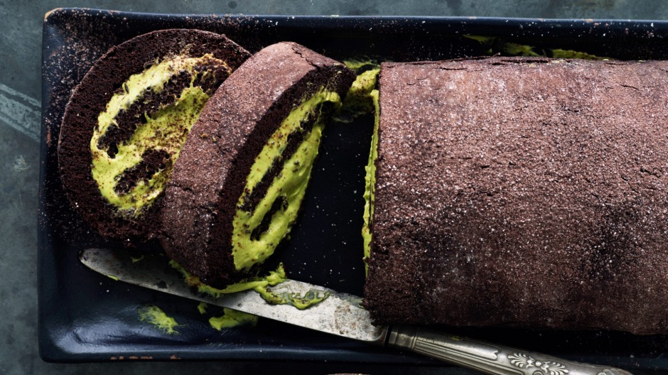 Rolled chocolate cake with green tea cream.