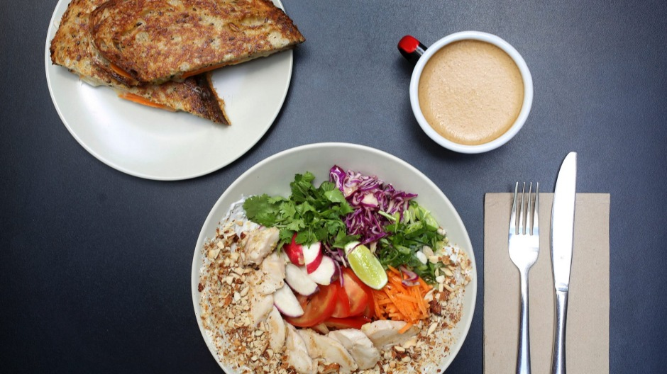 Rainbow chicken bowl, kim cheese toastie and bulletproof coffee.