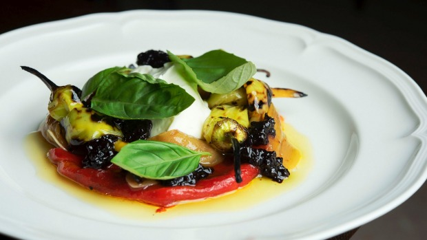 Grilled peppers, burnt honey, olive jam and ricotta.