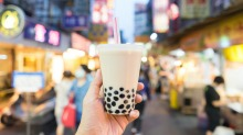 Bubble tea, the traditional drink of Taiwan, at a night market.