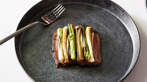 Wagyu MS 9+, smoked eel, spring onions and fermented king mushroom at Kazuki's in Carlton.