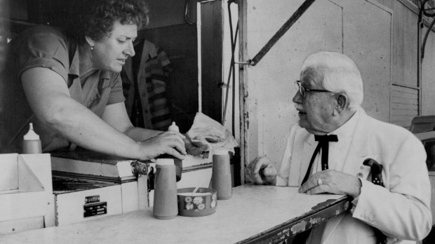 "Colonel Sanders received his first Australian meat pie at Harry's in 1976 and described it as a ""tasty morsel""."