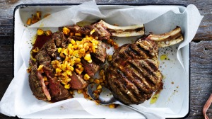 Grilled beef rib-eye and corn with chipotle butter