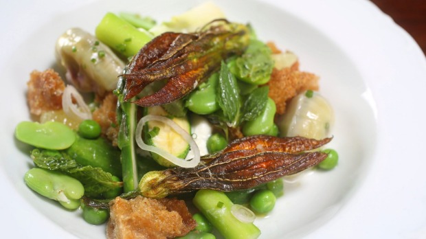 Insalata primavera - spring salad with broad beans, peas and sourdough.