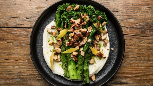 Wood-roasted broccolini with preserved lemon, smoked almonds and whipped goat's feta.