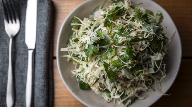 Shaved cabbage and buckwheat salad.