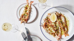 Wood-grilled king prawns and garlic butter.