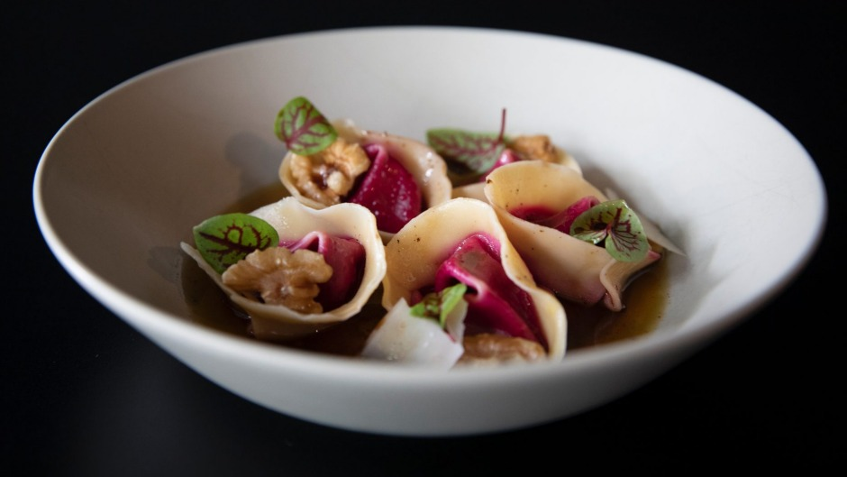 Beetroot tortellini with poppyseed butter.