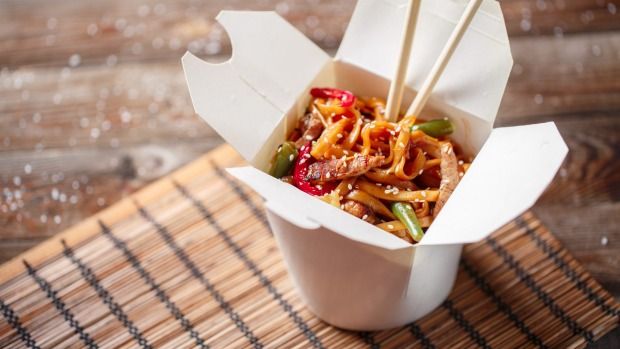 The takeaway noodle box is better suited for couches than parties.