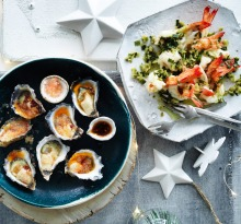 Kylie Kwong's freshly shucked Sydney rock oysters with finger lime and chilli dressing, and Steamed Ballina king prawns ...