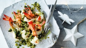 Steamed Ballina king prawns with sea parsley, spring onion and ginger dipping sauce.