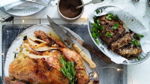 Jill Dupleix's dry-brined turkey with a lighter herb and lemon stuffing (top right).
