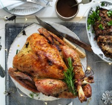 Jill Dupleix's dry-brined turkey with orange and fennel / Herb and lemon stuffing / Vegemite gravy.