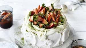 Strawberry matcha pavlova.