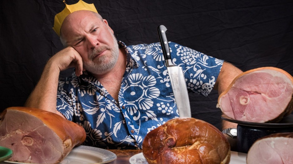 Taste-tester Richard Cornish hams it up.