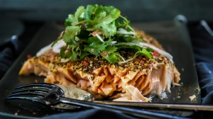 Coriander and mustard roasted salmon with coriander, finger lime and kohlrabi salad