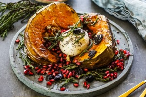Christmas roast recipes for Good Food online November 2018. Roasted pumpkin with black garlic, samphire and burrata. ...