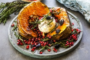 Roasted pumpkin with black garlic, samphire and burrata.