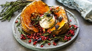 Roasted pumpkin with black garlic, samphire and burrata