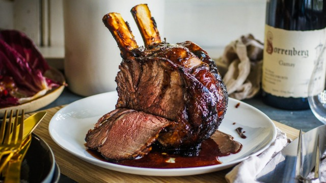 Sticky mulled wine roasted beef.