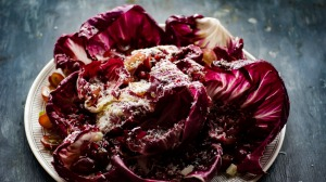 Radicchio and red grapes showered in manchego snow.