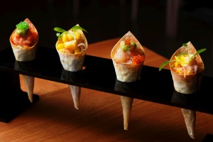 Cute sashimi cones are just the thing with a 'Japerol' spritz.
