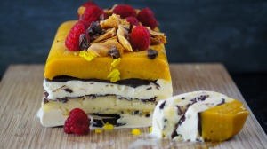 Mango and passionfruit Viennetta-inspired ice-cream cake.