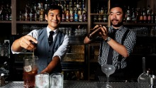 Bancho's group beverage manager Yoshi Onishi and owner Jason Ang mix drinks at Chinatown's first small laneway bar.