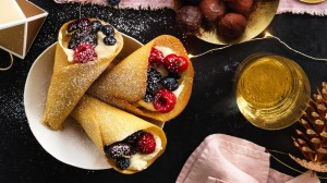 Christmas tuilles filled with Vin Santo cream, berries and cherries.