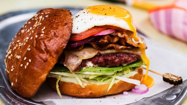 Adam Liaw's Aussie burger with the lot.