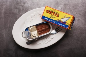 Ortiz anchovies served on the side with pizza at Bella Brutta, Newtown.