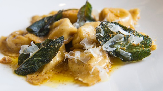 Tortellini di zucca: Pumpkin pasta parcels with burnt butter and crisp sage leaves.