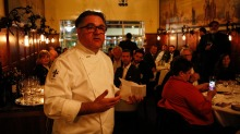 Chef-restaurateur Guy Grossi addresses invited guests at a dinner in Grossi Florentino's Mural Room to celebrate the ...