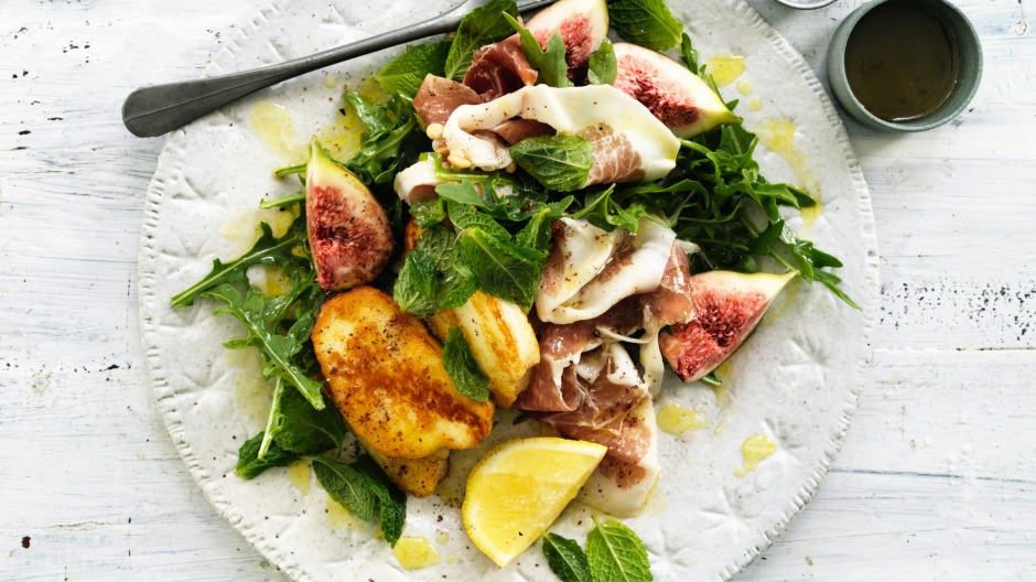 A warm salad of halloumi, prosciutto and figs.