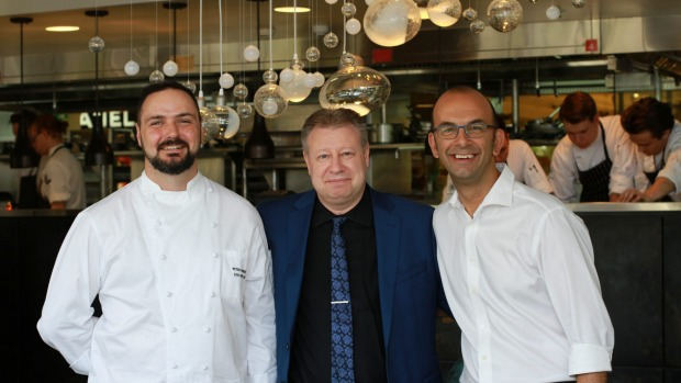 Peter Robertson, executive chef of Flying Fish, Andy North, general manager food & beverage, Konstantinos Dedes, DeDes Group