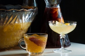 Packing a festive punch: (from left) Peach, rose andkombuchaspritz;Amaro cherry and lambrusco punch;Gin and prosecco ...