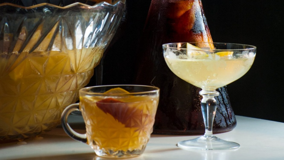 Packing a festive punch: (from left) Peach, rose and kombucha spritz; Amaro cherry and lambrusco punch; Gin and prosecco ...