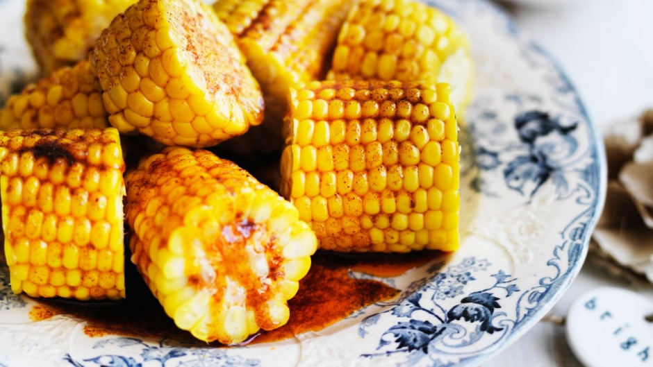 Boiled corn with butter and chipotle.