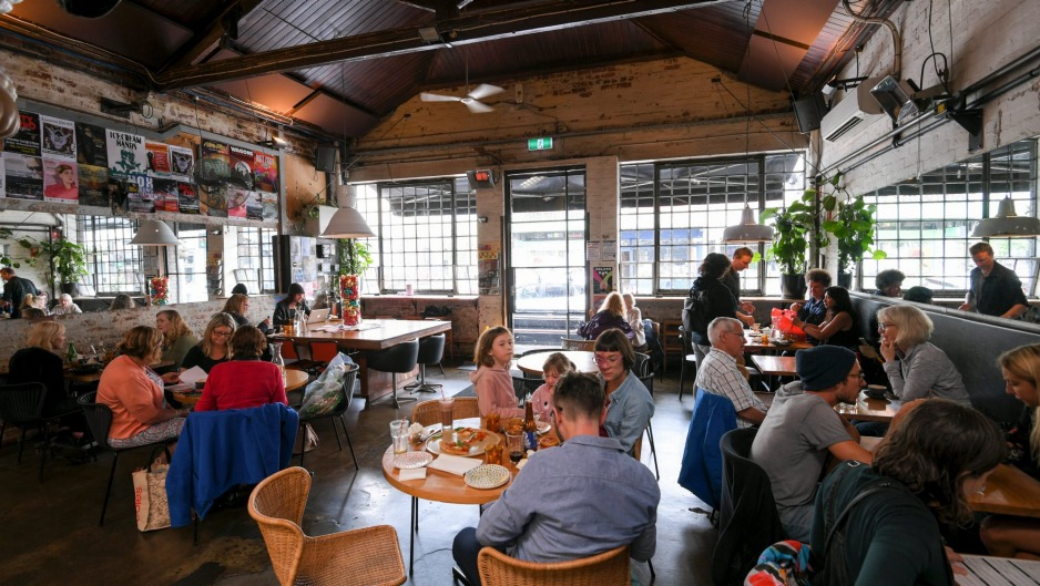 Vegie Bar review. Dish shots: Mee goreng, Burrito, Buddha bowl, Cake display. 13 December 2018. The Age Epicure. Photo: ...