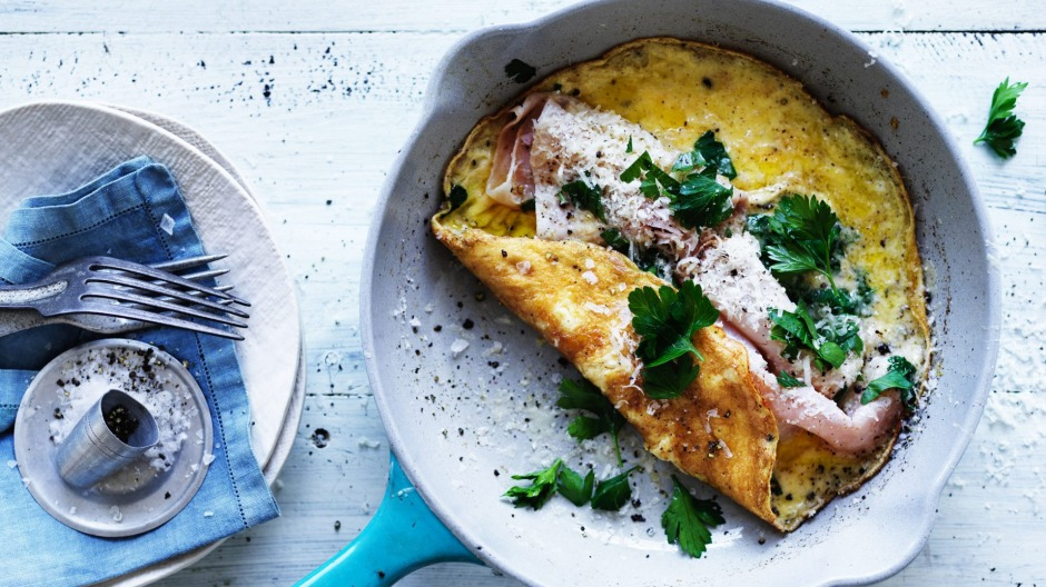 Eggsactly the type of food we're eating more of: Neil Perry's ham omelette.