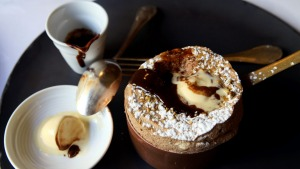 Chocolate souffle made by Guy Grossi at Grossi Florentino.