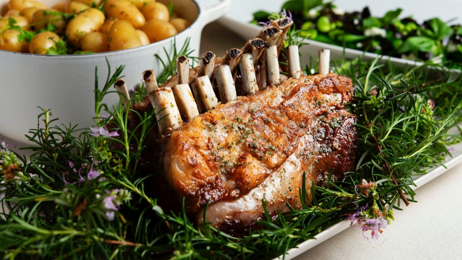 Peter Gilmore's simple roast lamb served on a bed of rosemary.