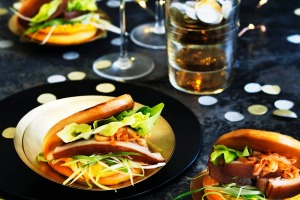 Monty Koludrovic: It can be lot of fun for guests to build their own snacks (such as these pork belly bao).