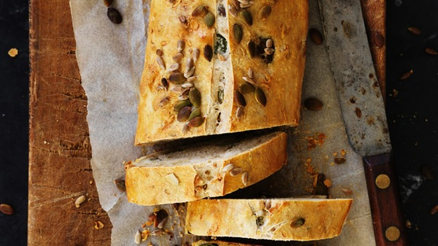 ***EMBARGOED FOR GOOD FOOD, JANUARY 22/19 ISSUE*** Dan Lepard's sourdough loaf with seeds and olives. Photograph by ...