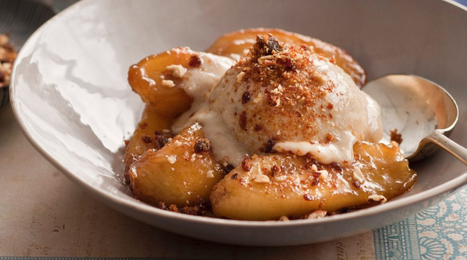 Caramel bananas with banana-based caramel flavoured 'nice-cream'.